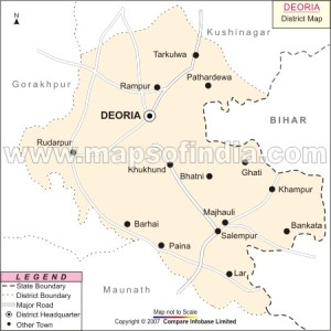 Map of Deoria District of U.P. showing Salempur where our Village Sonbarsa is located