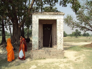 Ramshackle Temple of my Family Deity , My Wife & Sister at the left
