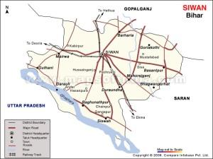 Map of Siwan District of Bihar showing Sohagara Village