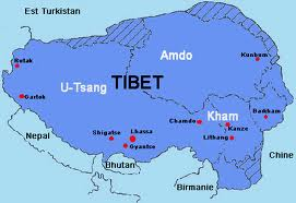 Map of Greater Tibet with Amdo & Kham , the Cultural & Historical Provinces of Tibet