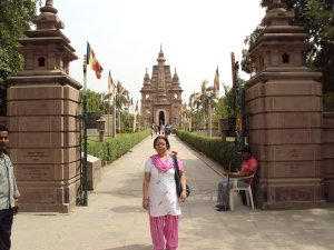 My Wife at Mulagandhakuti Vihara Buddhist Temple - Sarnath