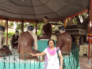 My Wife At Statue of Buddha Giving First Sermon to His Desciples