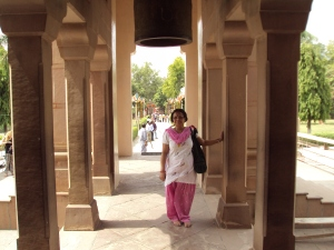 My Wife Outside Mulagandhakuti Vihara Buddhist Temple - Sarnath