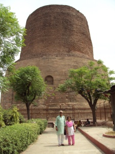 Me & My Wife At The Dhamekh Stupa - Sarnath