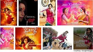 "Collage of Posters of ""Gulaab Gang"""