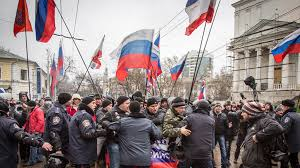 Protesters with Russian Tricolour in Crimea