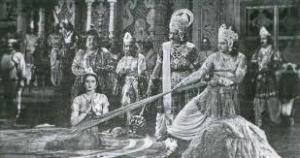 SUSHILARANI as DRAUPADI in Vastra Haran Scene of DRAUPADI