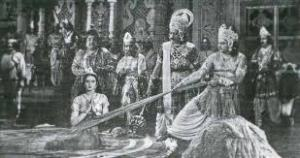 SUSHILARANI as DRAUPADI in Vastra Haran Scene of DRAUPADI