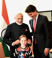 Modi with Justin Trudeau - The New Prime Minister of Canada & His Daughter