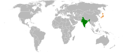 India - Japan Location Map