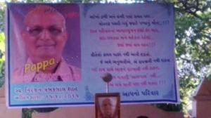 Portrait of Niranjan Bhai at PAWANDHAM Prayer Meeting
