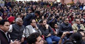 Rahul Gandhi, Ajay Makan, D. Raja & Sitaram Yetury in JNU Protest