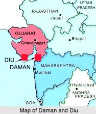 Location of Daman & Diu in the Map of India