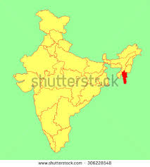 Location of Mizoram in the Map of India